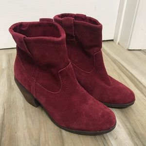 Call it Spring Red Suede Cow Girl Booties